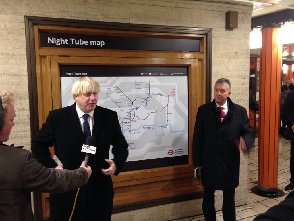 At Piccadilly Circus to unveil the 24-Hour weekend tube from 2015. Great news for passengers & night time economy http://t.co/fcVdOkoivY