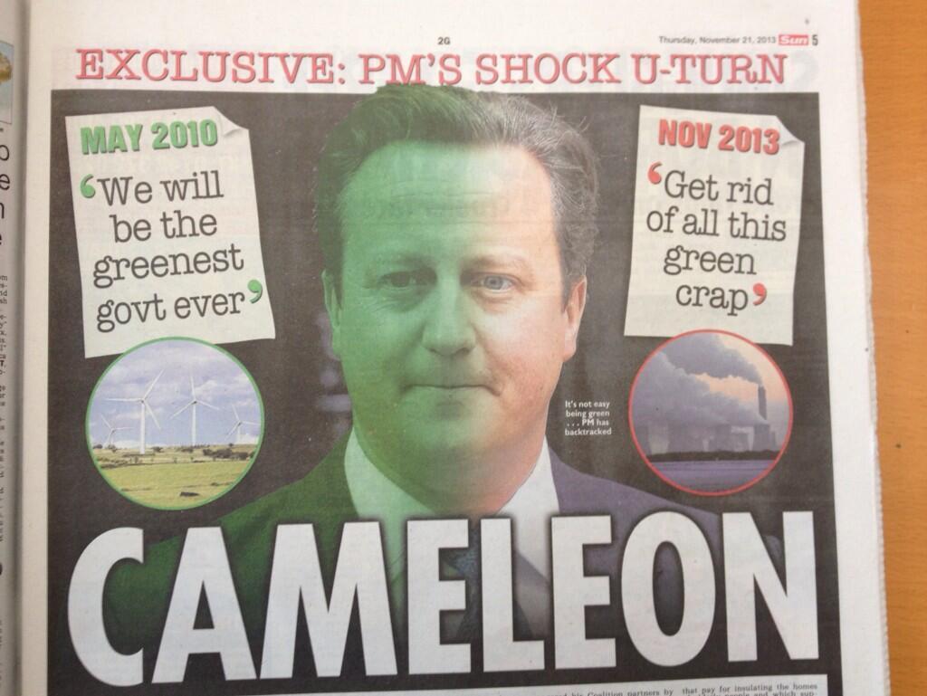Cameron and environment, cartoon