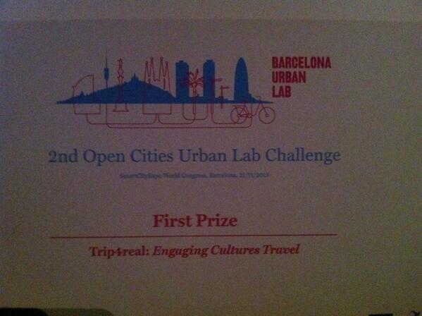 RT @Trip4real: Winners of the Urban Lab Competition!!! Sooooo happyl!! Thanks4real!! #Trip4Real  #SmartCityExpo http://t.co/Dvs49bjYTH