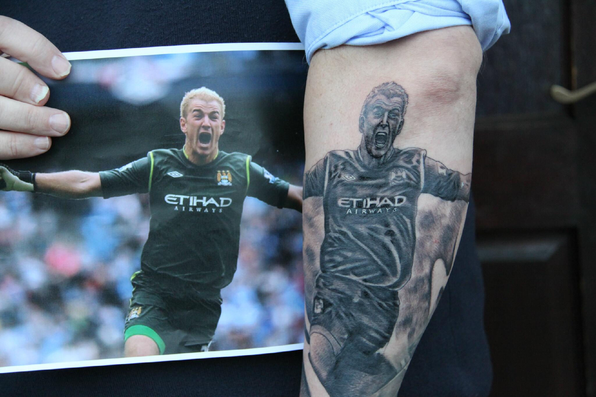Man City fan gets Joe Hart tattoo on his forearm to compliment his Kun Aguero one