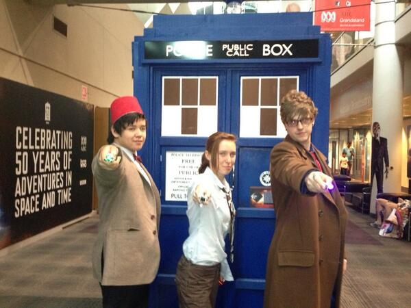 < than 24 hours to the Dr Who Anniversary Special - fans flock to the display at the ABC in Sydney @abcnews http://t.co/ZRZFkgHJD3