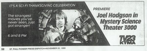 Twitter / JoelGHodgson: the first MST3K ad ...