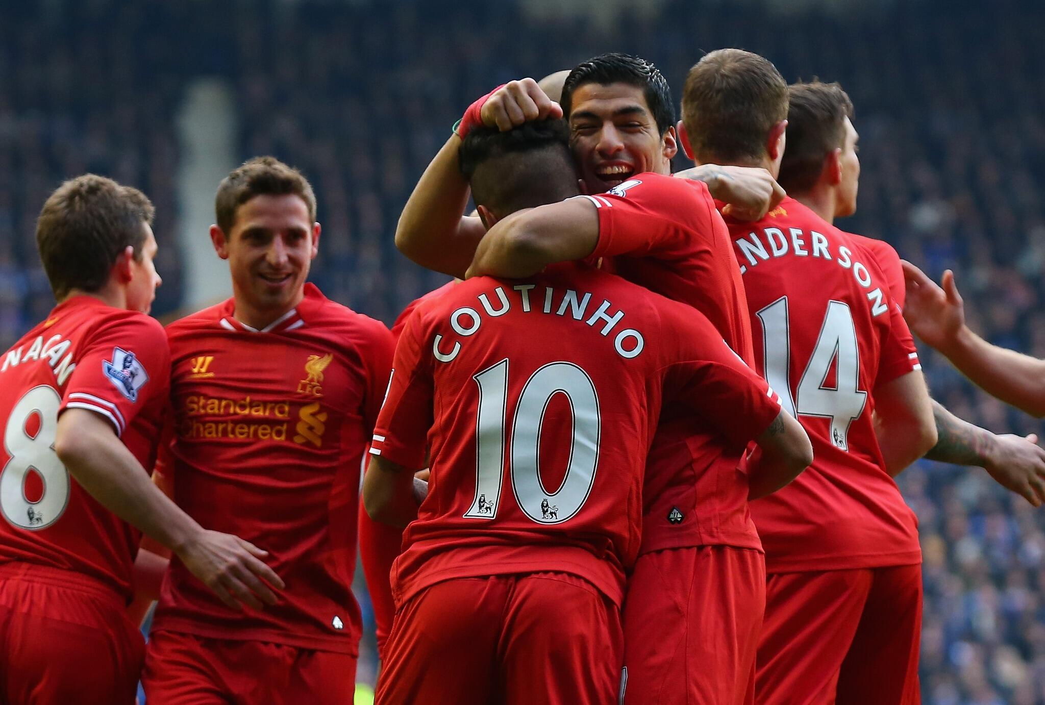 Luis Suarez gives Coutinho noogies after scoring v Everton