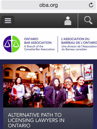 cover page of OBA website - four women, at least three visible minorities, in a law library type space.  Headline underneath: Alternatives to articling.
