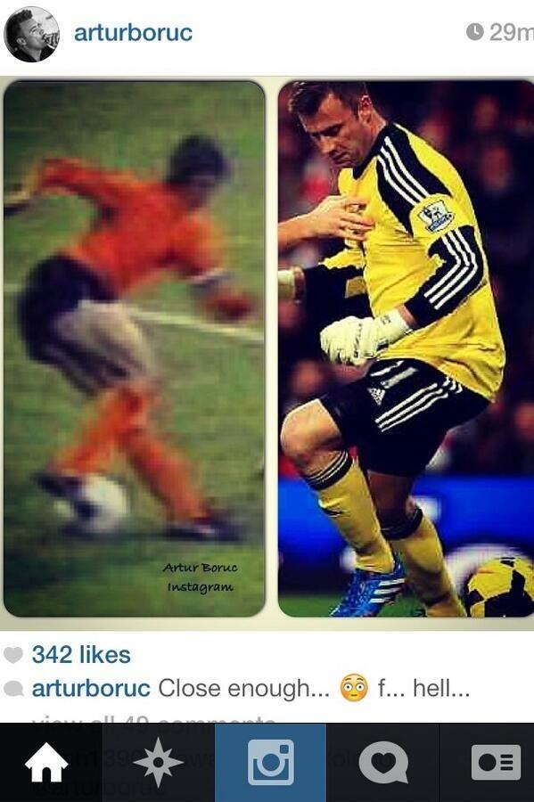 Jokes! Southamptons Artur Boruc uploads a picture comparing his Arsenal mishap to the Cruyff turn