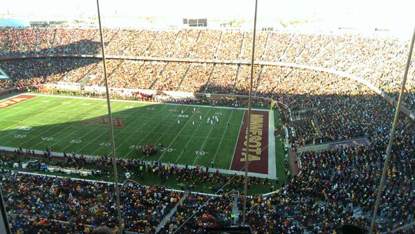 Not an empty seat in the house - a view of the largest crowd in TCF Bank Stadium history! #Gophers #GopherGameDay http://t.co/nPcfqlowMM