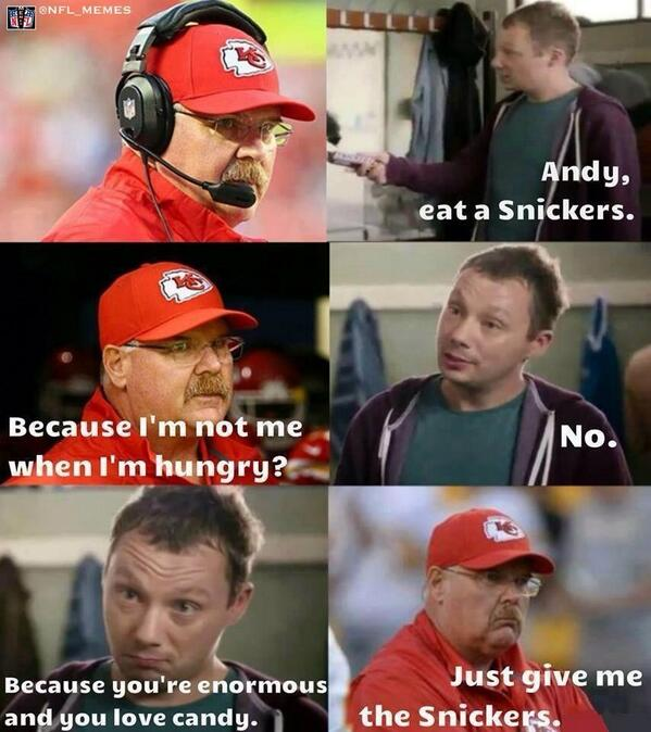 nfl memes on twitter quotnew andy reid snickers commercial
