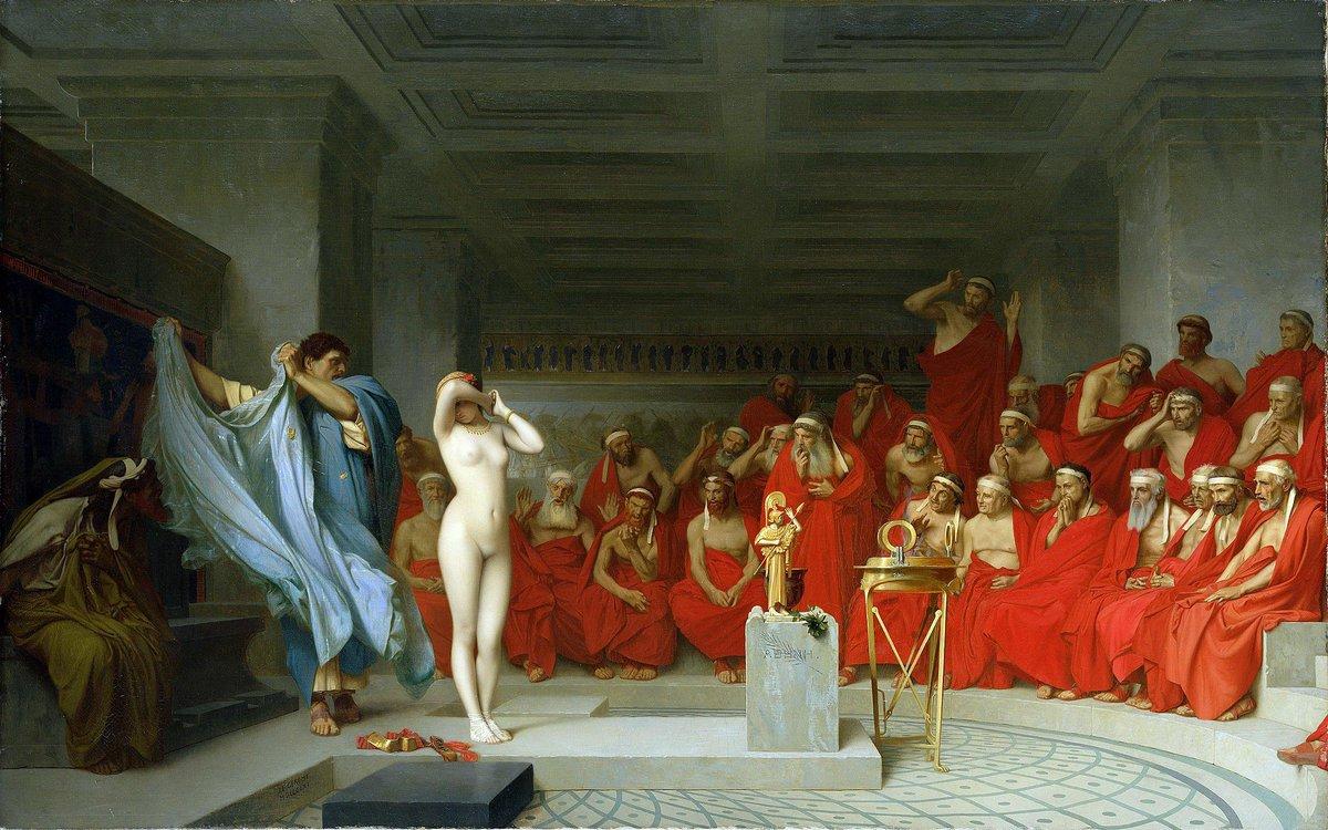 #看图说故事 芙里尼是古希腊著名的交际花,旧情人控告她亵渎神明,眼看判决将对她不利。辩护人在这时揭去了她的衣裳,露出她美丽的双乳,法官们为芙里尼的美所深深震撼,将其无罪释放。古希腊文化,身体的美丽被认为体现了神性或证明了神明的眷顾。 http://t.co/v951apdwRj