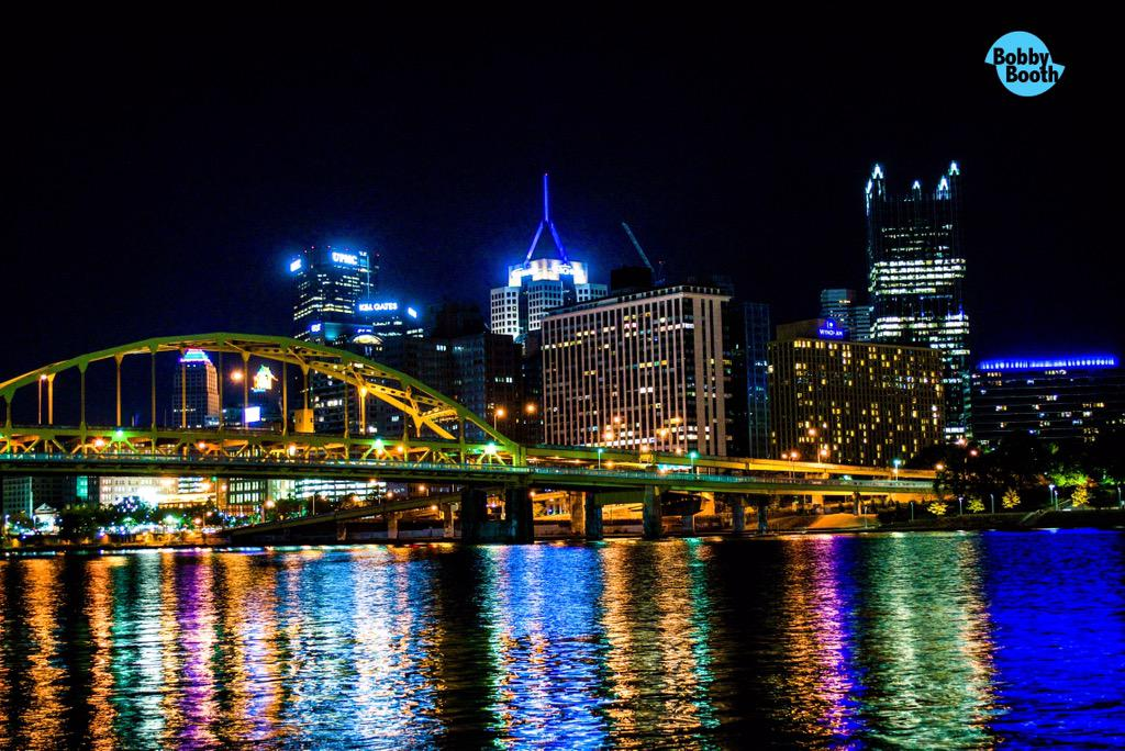 Lights from the buildings make the water glow late nights. #steelcitygrammers #Pittsburgh #pgh #monriver http://t.co/Wl0BkRsBp2
