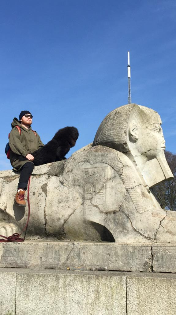 Tried to take a nice photo of me and my dog on a sphinx but it came out a bit off key http://t.co/8U22ftZghq