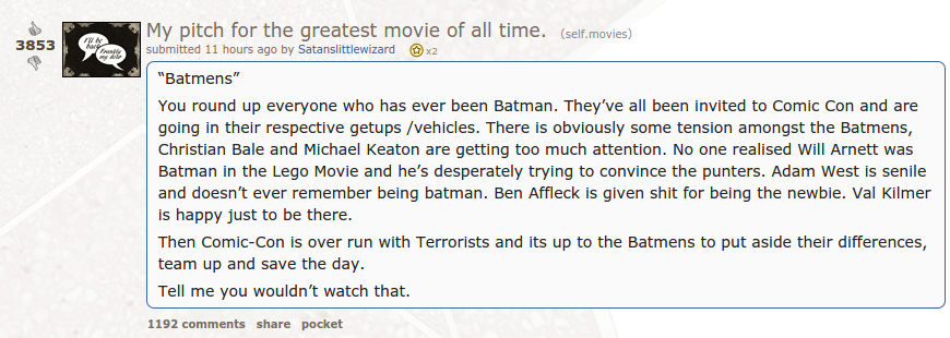Batmens: The Greatest Movie Of All Time. http://t.co/v9FdLdvILH http://t.co/zK6tDroijY