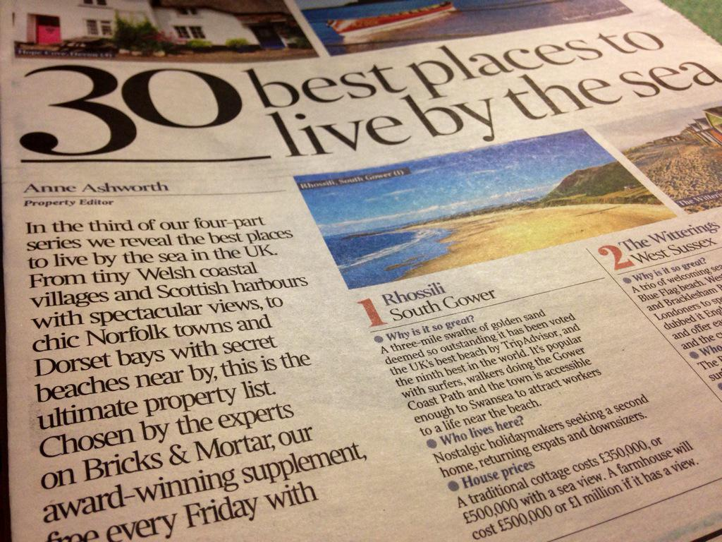 Rhossili has been voted best place to live in today's Times - '30 best places to live by the sea' #swansea http://t.co/SwxT0u2jrv