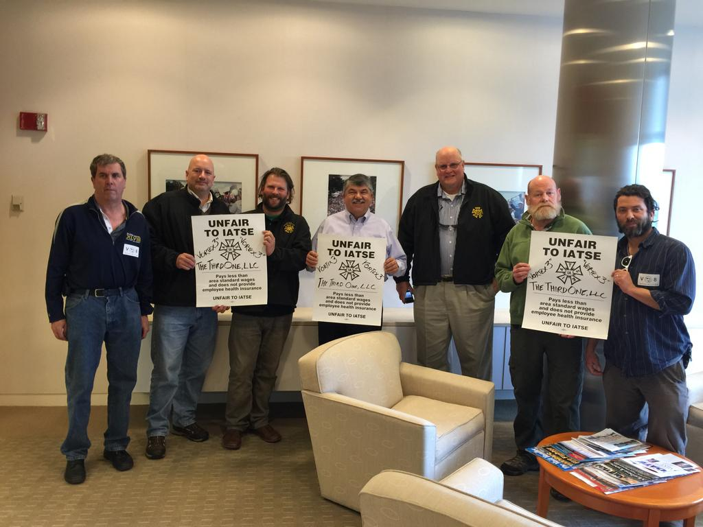 AFL-CIO President Richard Trumka with 'Sharknado 3' strikers.