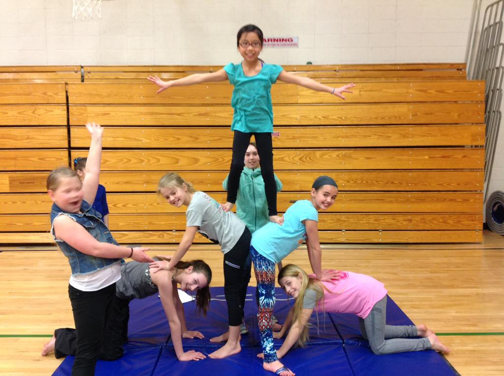 What is pyramid building in gymnastics?