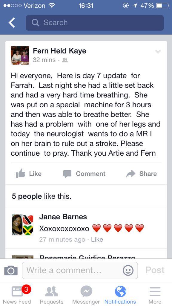 #FarrahKaye #DaySeven Set back last night. Hard time breathing. Trying to rule out stroke. @Farrah_Kaye ❤️ http://t.co/FeJGWwIl9N