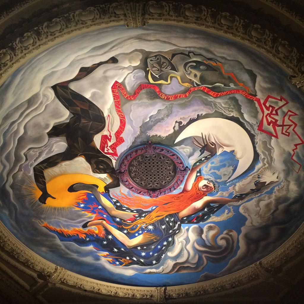Not only is the work of John Byrne being performed onstage in front of me, it's above my head too. #TheSlabBoys http://t.co/AZMmlyFr9V