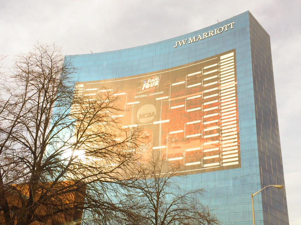 The @JWMarriottIndy looks fantastic! @NCAA @FinalFour bracket is up and ready. @WTHRcom http://t.co/kFPDHp96Y7