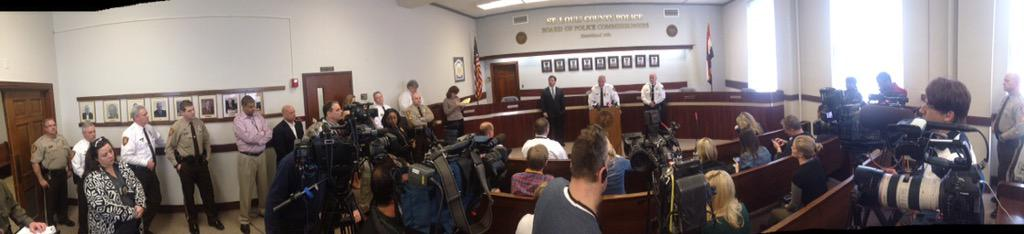 Chief Belmar holds press conference @stlcountypd about 2 officers shot in #Ferguson last night http://t.co/Va6gEcyJxC