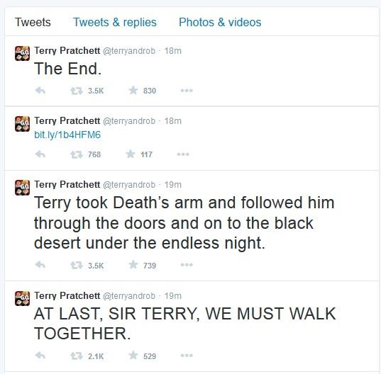 The announcement of Terry Pratchett's death on his Twitter feed was elegant and lovely: http://t.co/wvJBTcEvTC