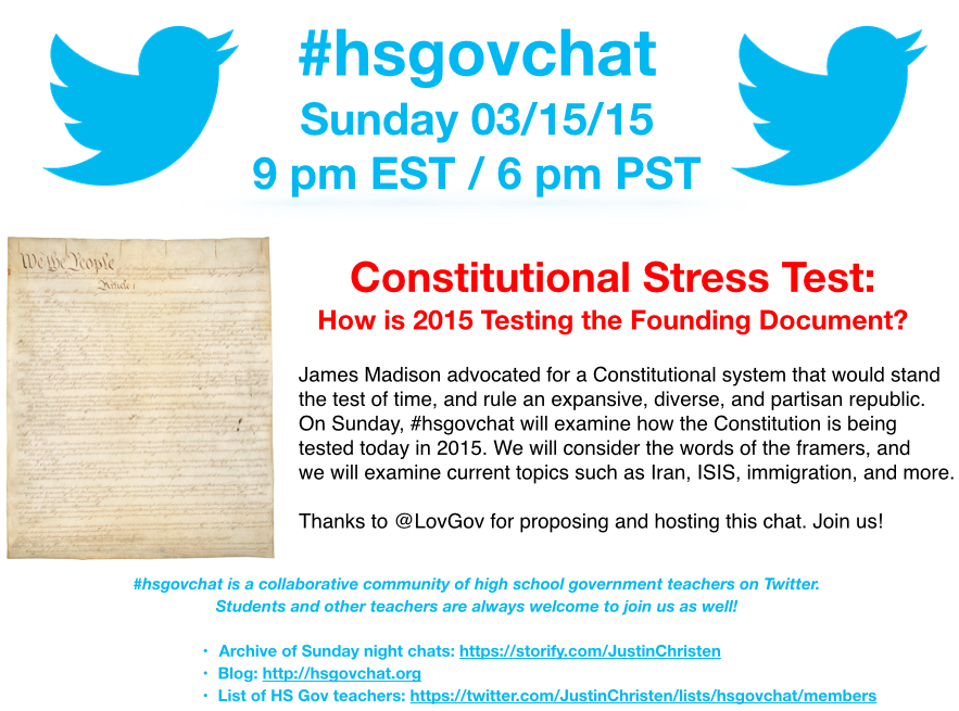 Thumbnail for #hsgovchat (03/15/15): Constitutional Stress Test - How is 2015 Testing the Founding Document?
