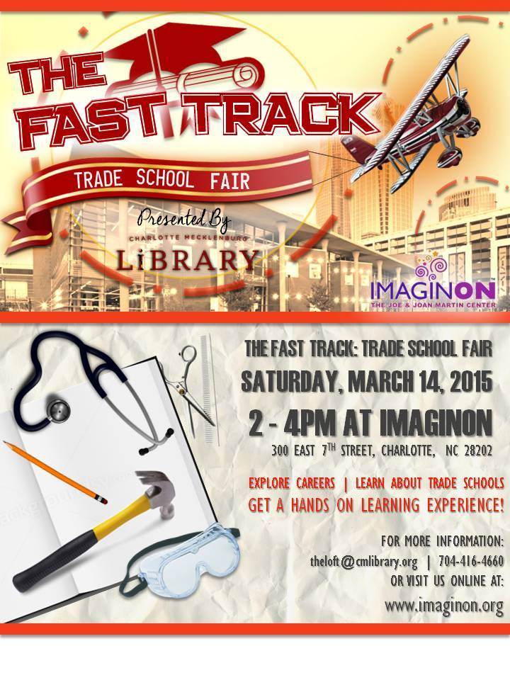 char meck library on twitter explore options for after high school fast track trade school fair this saturday at imaginon