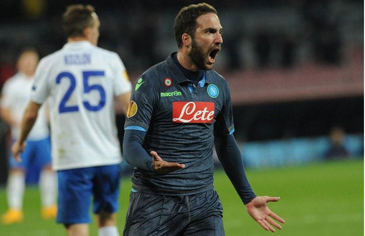 Risultati Europa League: brilla il Napoli di Higuain, pari a Firenze, Ko Inter e Torino fuori casa