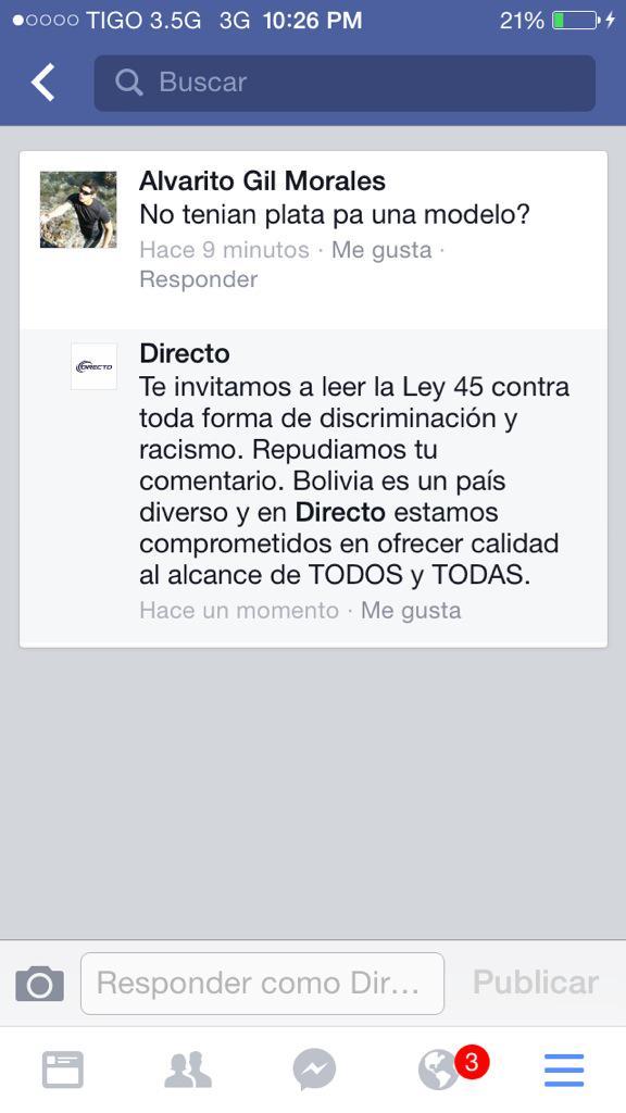 Respuesta al discriminador por campaña publicitaria de Directo @eldelagora @SoyEvista @jcrquiroga @jesicaecheveria http://t.co/rTu5zAkJ2X