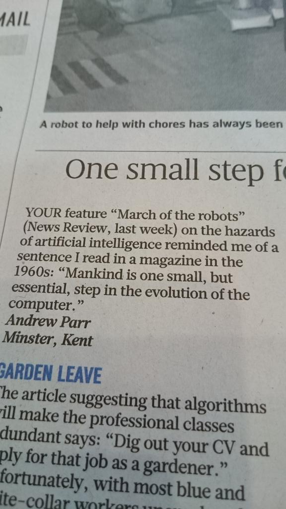 """Mankind is one small, but essential, step in the evolution of the computer."" #ai #robots 