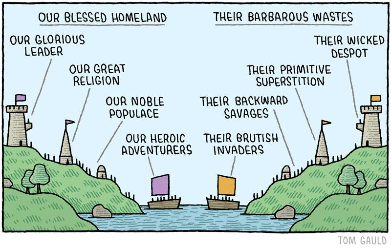 RT @tomgauld: 'Our Blessed Homeland' (my cartoon for yesterday's @guardianreview) - http://t.co/EliUnCOpIZ