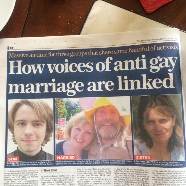 Family values? Anti marriage equality folk are few and mainly closely related to each other. Irish Mail on Sunday. http://t.co/yBwxJ34717
