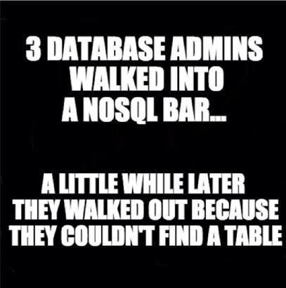 Data Joke Alert - Three DBA's walks into a NoSQL bar..... http://t.co/7TNO1gXLHV #BigData