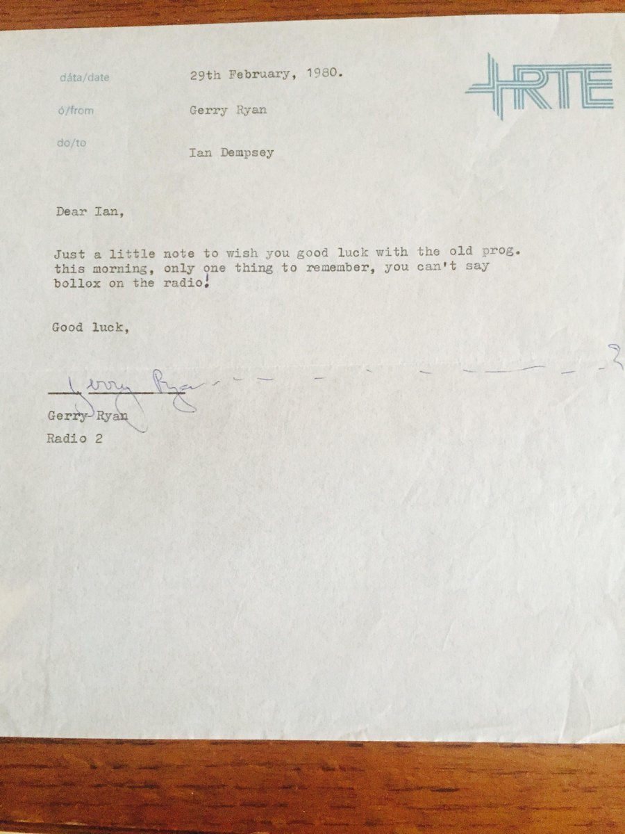 I began my professional radio career 35 years ago today - the always mischievous Gerry Ryan left a welcome note http://t.co/xNP531EflI