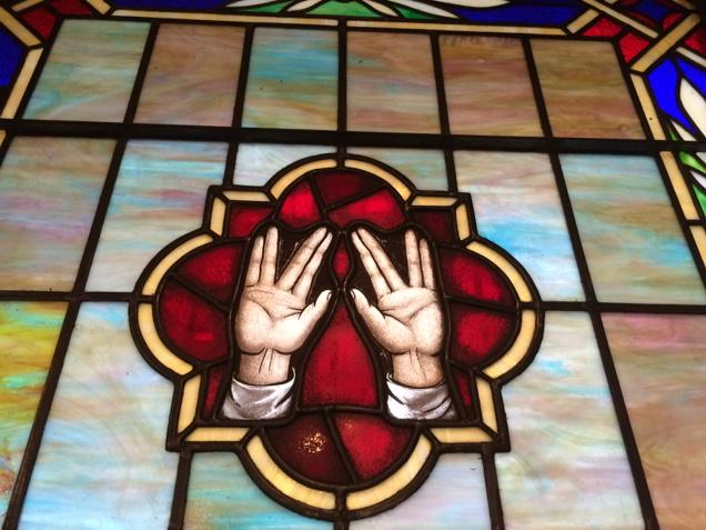 On my synagogue window, a stained-glass tribute to Mr. Spock. (He must have time-warped to 1930s Brooklyn.) http://t.co/2P80ewWFwk