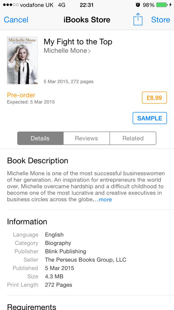 OMG this is so weird,just seen book on #iTunes Book listed everywhere.Seriously can't believe this #MyFightToTheTop http://t.co/m5LV2wFOUb