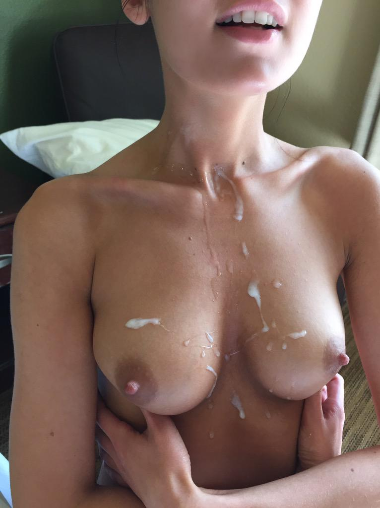 Perfect tits with cum