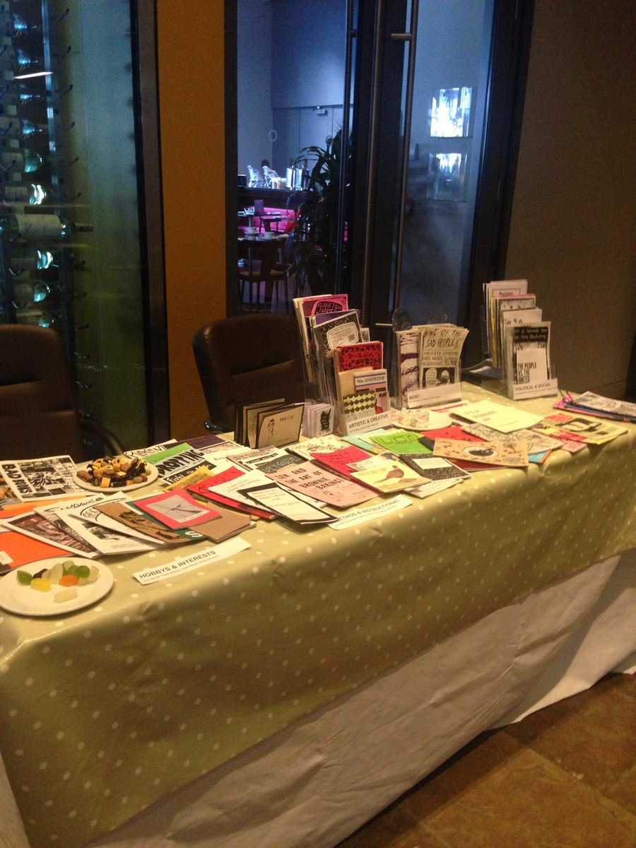 We forgot to post a photo of our pop-up archive at #asl2015. @LauraRooneyF 's picture is better than ours #zines http://t.co/QpdUJ8rNXK