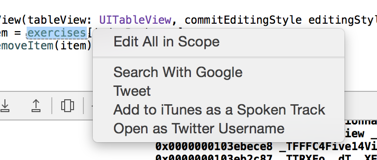 New workflow: Open Xcode, highlight var name, add to iTunes as Spoken Track.  Xcode just gets me. http://t.co/OCCUZREchK