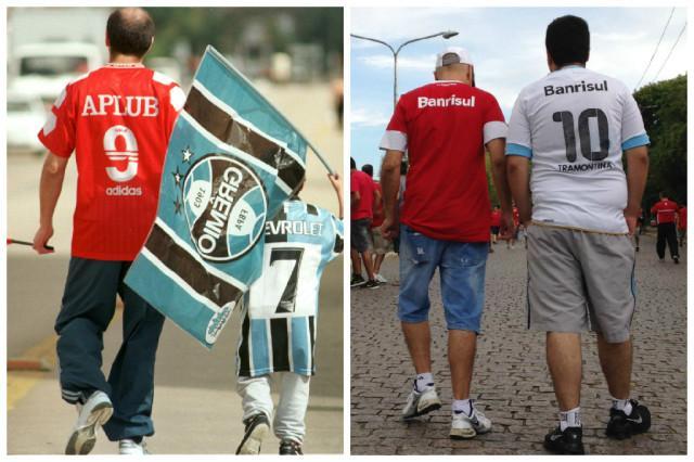 Como em 1999: pai e filho reeditam foto e vão a Gre-Nal juntos com a camisa dos seus times: http://t.co/tuWeukVTKd http://t.co/KaxrlnOPnq