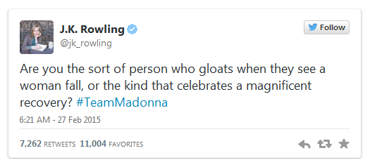 J.K. Rowling Silences The Madonna Haters With 1 Amazing Tweet http://t.co/nMVsKKyDZB #TeamMadonna http://t.co/KgzjWYiDjk