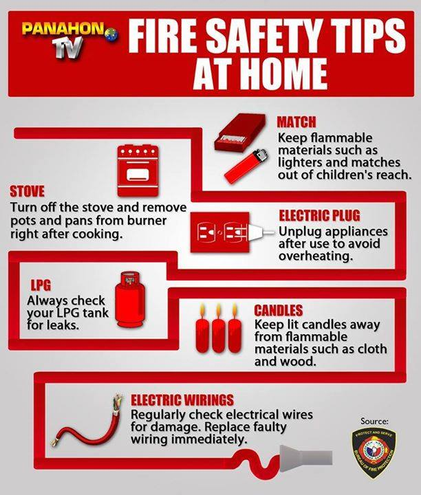 Infographic fire safety tips for fire prevention month for House fire safety plan
