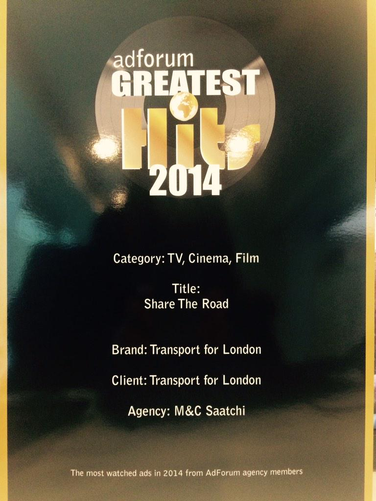 TfL's Share The Road makes most watched list 2014 - cheers @adforum http://t.co/P8NqpW10cM