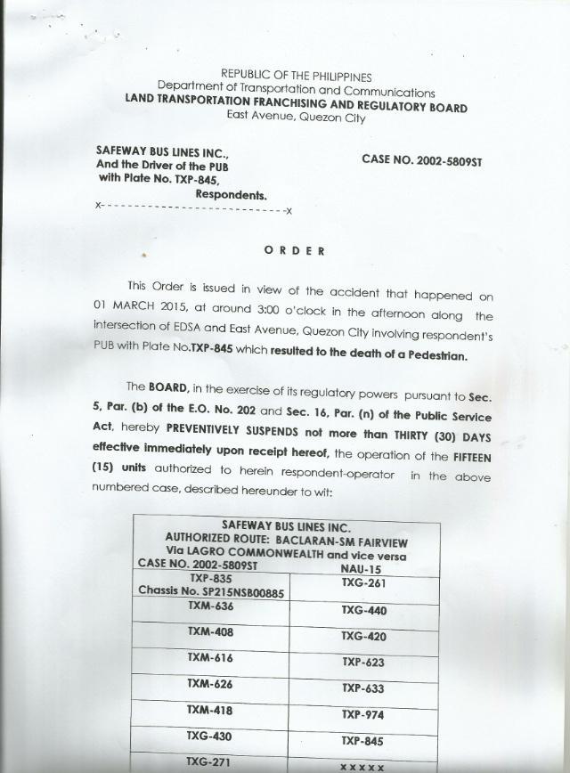Mar : LTFRB Chairman issues preventive suspension units