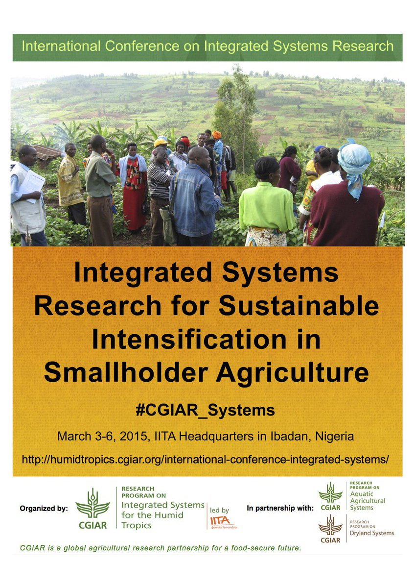 "Join us, starting tomorrow on ""Int'l Conf. on Integrated systems"" http://t.co/tcYMnkY3bZ  (#CGIAR_Systems) @FAOnews http://t.co/ZTOgPRqvSo"