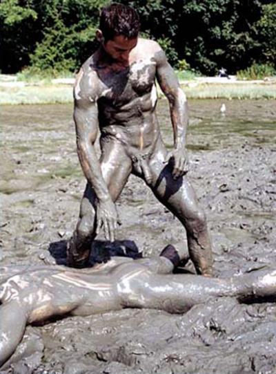 Male mud nude wrestling