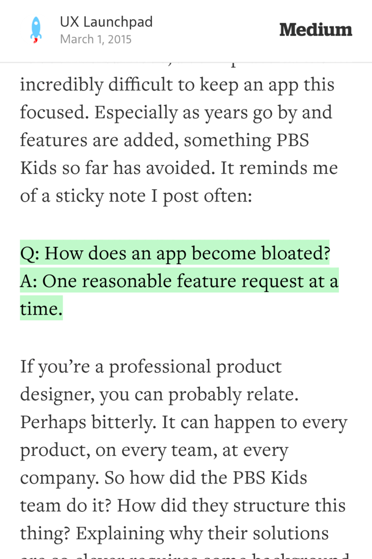 Q: How does an app become bloated?A: One reasonable feature request at a time —@uxlaunchpad https://t.co/OyatFudMp0 http://t.co/ox2F4uSHHE