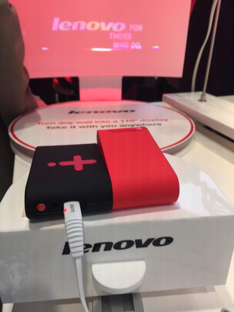 Take my money already Lenovo! Pocket projector that can project 110inch HD screen #lenovoMWC #LenovoIN http://t.co/TeJchax6Qw