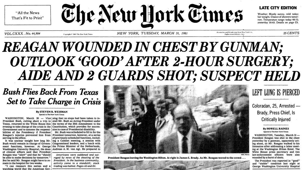 March 30, 1981 when Pres. Reagan was shot!