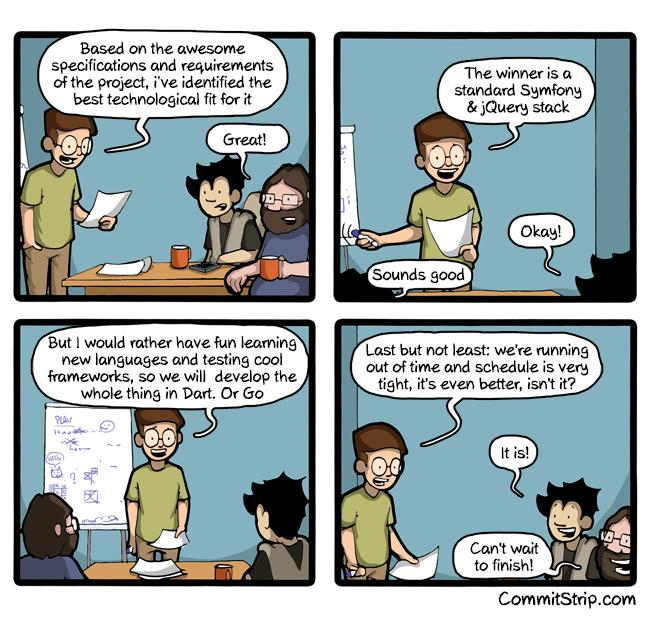 """Gold!!! """"@CommitStrip: Getting bored? Change your stack  http://t.co/fDrDh9cmue http://t.co/8e2MX3KTrX"""""""