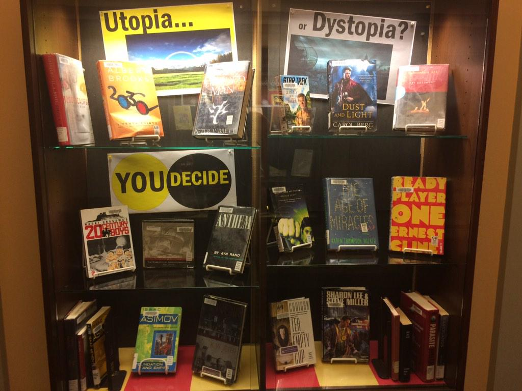 Utopia or dystopia? @stpaullibrary covers. You decide. I'll have an Armada coming July. @ErnestCline #booksandbars http://t.co/T7bz1FOt2o