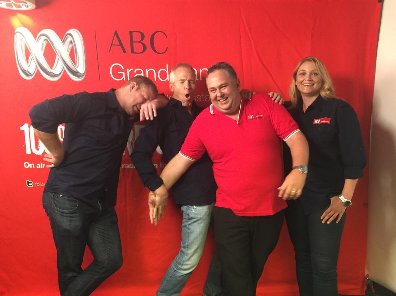 The new,deadly serious @abcgrandstand @NRL team.. Mick Crocker, Matt Elliott, me, Shannon Byrne... 2 more sleeps! http://t.co/EvlDyLmMc6